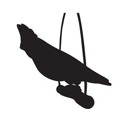 Parrot sits on a wooden pole silhouettes vector