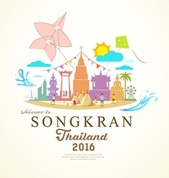 Songkran festival period of april thailand vector