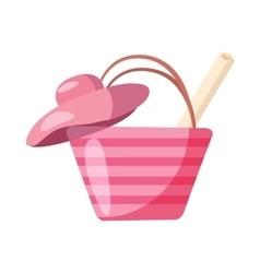 Pink beach bag and hat icon cartoon style vector