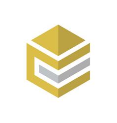 Abstract hexagon business finance logo vector