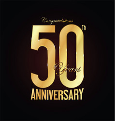 Anniversary golden sign 50 years vector