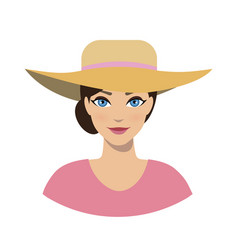 avatar icon of girl in a sun hat vector image