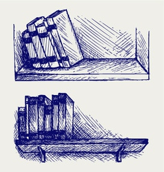 Books on the shelf vector image vector image