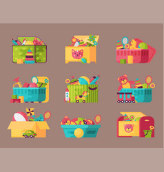 Boxes full kid toys cartoon cute graphic play vector