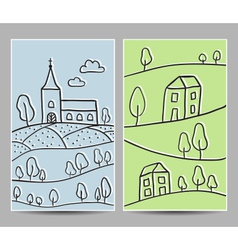 Card church and village vector