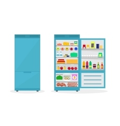 Cartoon fridge open and closed vector