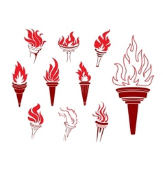 Collection of burning torches vector image vector image