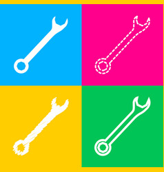 Crossed wrenches sign four styles of icon on four vector