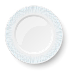 Empty classic white plate with wavy blue pattern vector