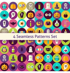 Four flat halloween party patterns set with vector