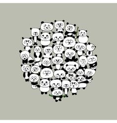 Funny panda family frame for your design vector