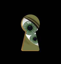 Green eyes in the keyhole monster vector