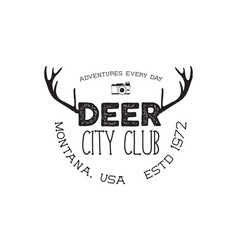 Hand drawn deer vintage badge deer city club logo vector
