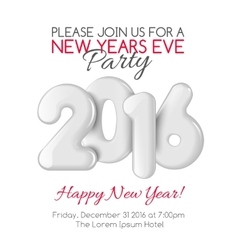 Invitation to New Year party with white numbers vector image vector image