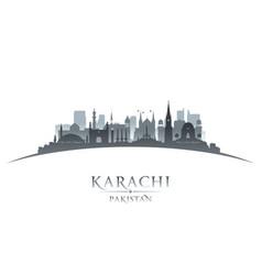 karachi pakistan city skyline silhouette white vector image vector image