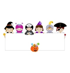 Kids in halloween costumes with blank placard vector image
