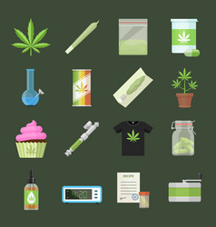 Marijuana equipment and smoking icon set vector