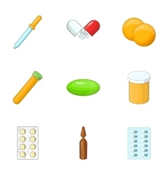 Medicines icons set cartoon style vector image vector image