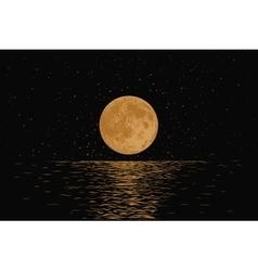 Orange moon reflecting in a sea vector image