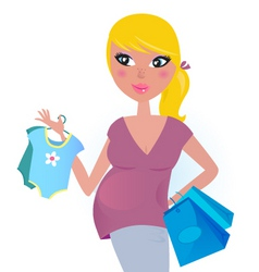 pregnant mother shopping vector image vector image