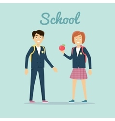 School Concept In Flat Design vector image