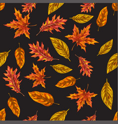 seamless pattern with autumn leaves on a black vector image