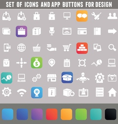 Set of icons and app buttons for design vector image