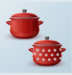 two red saucepan vector image vector image