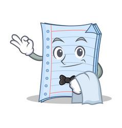 Waiter notebook character cartoon design vector