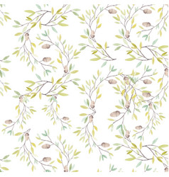 Watercolor pattern with leaves and oak acorn on vector