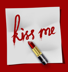 White notepad kiss me and lipstick on red backgrou vector