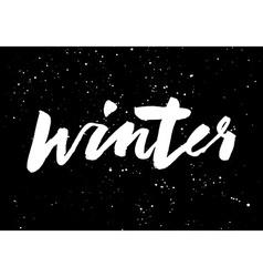 Winter calligraphy hand lettering brush black vector