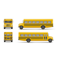 yellow school bus front back and side view vector image vector image