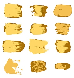 Brush stroke gold paint abstract white background vector