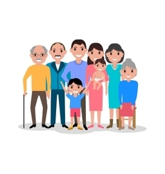 Cartoon happy family Big lovely family portrait vector image