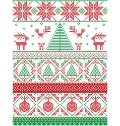 Tall xmas pattern with xmas tree in red green vector image