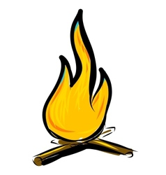 Bonfire simple cartoon doodle image vector image