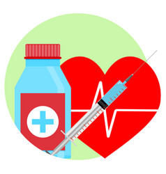 Drugs for heart icon vector