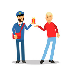 Postman in blue uniform with red bag giving a vector