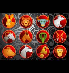 Chinese zodiac animal signs set vector