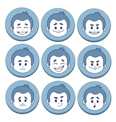 Set of nine facial expressions vector image