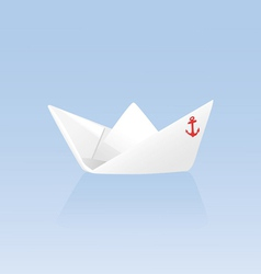 Paper boat on a blue background vector