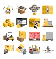 New logistics flat icons set vector