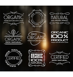 Set of labels for organic products vector