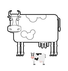 Cow coloring book of farm animals vector