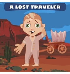 Lost traveler on the prairie with a broken cart vector