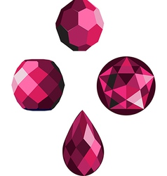 Pink crystal faceted beads vector