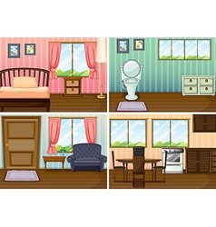 Four scenes of rooms in the house vector