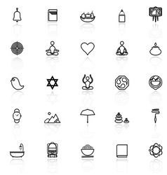 Zen society line icons with reflect on white vector