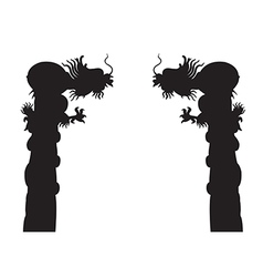Dragon post silhouettes on the white background vector